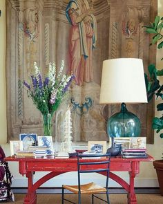 #tbt Peter's sitting room, his favorite red desk and a gorgeous tapestry.