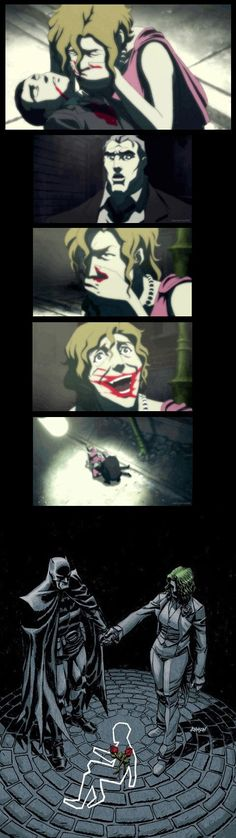 In an alternate time line, Bruce Wayne is killed by the mugger in the alley. The imense mental strain of losing their son Causes Thomas Wayne to become Batman and Martha to become the Joker. - Imgur