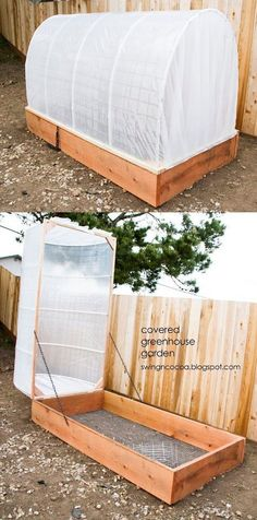 DYI Covered Green House. The Swing N Cocoa blog has shared a step-by-step photo tutorial on how to build a small greenhouse. It protects your plants and vegetables from wind and rain, while keeping wayward animals away from it. It can be done on a weekend, and you can plant a lot of things in it, from tomatoes and cantaloupes, to onions and squash. You can even put in an automatic watering system.