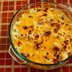 twice-baked cauliflower with bacon bits. like twice-baked potatoes but without the carbs.