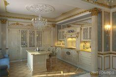Проект особняка в классическом стиле (730м2) под Санкт-Петербургом. Вид на зону кухни. Подробнее об объекте на сайте студии - www.line-interior.ru
