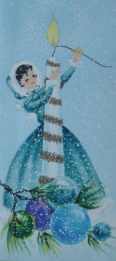 Vtg Rust Craft Christmas Card- Old Fashioned Girl in Blue Lights Giant Candle