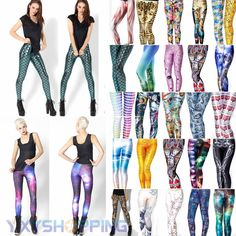 Women 3D Print Leggings Stretchy Jegging Punk Funky Pencil Pants Skinny Trousers