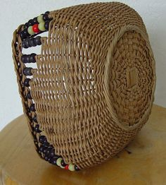 Vintage Woven Basket with Bead Decoration c.1930 by chalcroft