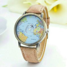 """LAST ONEHIP WORLD TRAVELER'S WATCH Dark Tan Strap. Bright Mini Map. Plane that circles and says """"mini world"""". RETAIL.  For the wanderlust in us all. BRAND NEW. IN PACKAGING. Boutique Accessories Watches"""