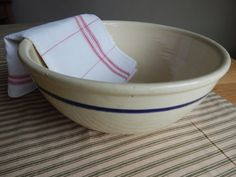 Beautiful Antique Cream With Blue Stripe Ironstone Mixing Bowl