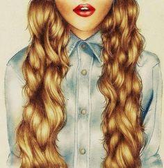 pelo castaño claro, ondula, labios rojos, cabello medio corto, cabello rizado
