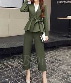 V-Neck Lace-Up Long Sleeves Women's Pants Suit – mode Suit Fashion, Work Fashion, Fashion Pants, Hijab Fashion, Fashion Outfits, Fashion Styles, Womens Fashion, Fashion Ideas, Classy Outfits