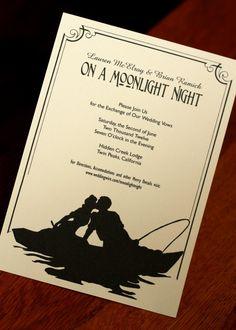 Moonlight Night  - Vintage Sheet Music Silhouette Wedding Invitation. $2.25 USD, via Etsy.
