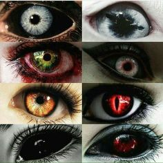 Demon, Vampire's, Bruxism e Shifter Scary Eyes, Cool Eyes, Pretty Eyes, Beautiful Eyes, Fantasy Creatures, Mythical Creatures, Eye Color Chart, Demon Eyes, Werewolf Eyes