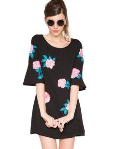 Rose embroidered mod dress