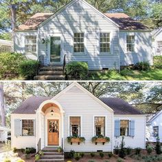 53 inspirational ideas for cottage home remodel exterior Renovation Facade, Architecture Renovation, Home Exterior Makeover, Exterior Remodel, Up House, House Front, Tiny House, Magnolia Homes, Fixer Upper Style
