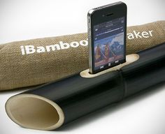 How cool is this?! The speaker consists of a piece of bamboo, open on both ends and machined in a way that allows you to place it on a flat surface and insert your iPhone 4/4S at the top.