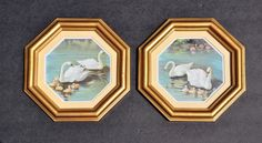 Vintage Lithograph Pair Framed 1970's Swan Prints by FabsAndFaves, $22.00
