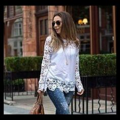 """Chiffon sheer sleeve embroidery lace crochet shirt Long sleeve, round neck fitted shirt. Bust 42"""" shoulder 15"""". Length 25"""" Tops Tees - Long Sleeve"""