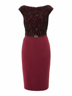 Marella Fatina lace detail shift dress with belt.