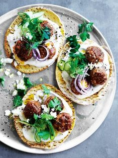 Lamb And Feta Meatball Flatbreads // Donna Hay