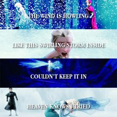 "Hello when Elsa first gets upset it starts to snow then it get worse and she's on a mountain in a ""swirling storm"" when she bursts out in he castle and hits Anna's heart se ""couldn't keep it in"" any more and then Hans tells her she killed Anna so ""heaven knows I tried"" she's saying Anna knows  I tried but failed."