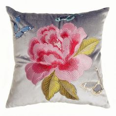 Peony flower embroidered sofa cushions Chinese style butterfly pillow