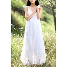 Wholesale Sweet Spaghetti Strap Solid Color Lacework Embellished Maxi Dress For Women Only $9.66 Drop Shipping | TrendsGal.com