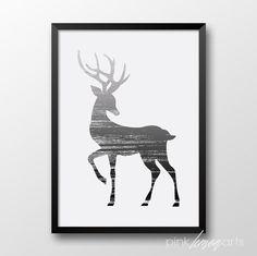 Черно-Белый Олень печати, настенные животных искусство, современный дом декора, олень печати, печати животное постер 113