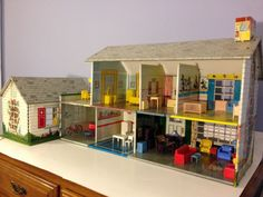 Vintage Marx Tin Litho 1950 Doll House Game Room Breezeway with Furniture Disney | eBay