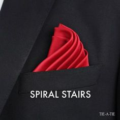 Spiral Stairs Pocket Square Fold How To Spiral Stairs Pocket Squa. - Spiral Stairs Pocket Square Fold How To Spiral Stairs Pocket Square Fold How To - Pocket Square Folds, Pocket Square Guide, Pocket Square Styles, Men's Pocket Squares, Pliage Pochette Costume, Handkerchief Folding, Style Masculin, Men Style Tips, Gentleman Style