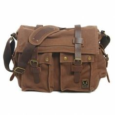Men Canvas Genuine Leather Big Outdoor Casual Shoulder Crossbody Bag - US$39.99