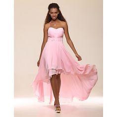 High Low Sweetheart Chiffon Evening Dress With Beadings  – AUD $ 172.68