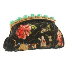 1930's  French Beaded Evening Bag with Ornate Frame