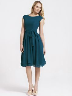 Cap Sleeve Chiffon Vintage Bridesmaid Dress | Plus and Petite sizes available! Hundreds of styles, tons of colors!