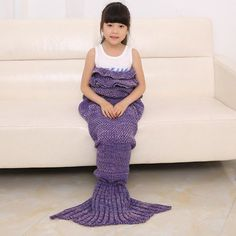 2016 Chic Fish Scale Tail Shape Flouncing Sleeping Bag Mermaid Design Knitting Blanket For Children (PURPLE) in Blankets & Throws | DressLily.com