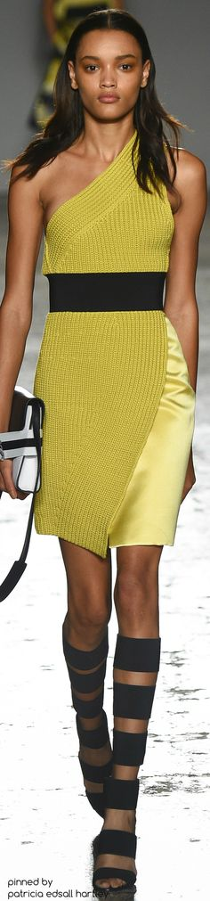 SPRING 2016 READY-TO-WEAR Les Copains one shoulder knit dress women fashion outfit clothing style apparel @roressclothes closet ideas