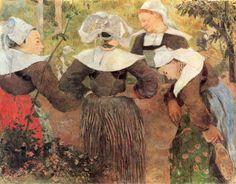 Paul Gauguin.  Der Tanz der vier Bretoninnen. 1888, Öl auf Leinwand, 71 × 91 cm. München, Neue Pinakothek. Synthetismus. Frankreich. Postimpressionismus.  KO 01380