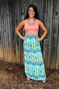 Peach Top Aztec Chevron Dress:))