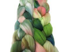 4 oz Hand dyed Merino wool roving , Green Acres