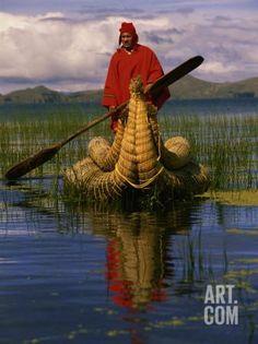 Traditiona Totora Reed Boat & Aymara, Lake Titicaca, Bolivia / Peru, South America Photographic Print by Pete Oxford at Art.com