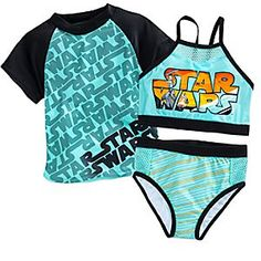 Star Wars Swim Set for Girls | Disney Store Your little one will dive into galactic adventures in this <i>Star Wars</i> swim set. The coordinating ensemble includes the cute two-piece swimsuit and matching rash guard.
