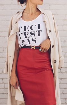 #spring #fashion  Cream Trench & White Printed Tee & Red Pencil Skirt