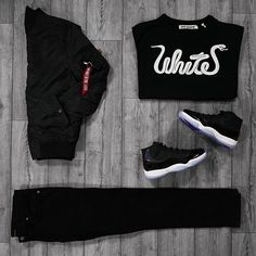 Would you wear this outfit?  by @thesolesupplier #thesolesupplier ∙ Alpha Industries MA-1 VF BlackBomber ∙ OFF-WHITE Patchwork Tee ∙ Nudie Thin Finn Jean ∙ Nike Air Jordan 11 Retro Space Jam