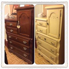 Before and after of my mom's bedroom furniture. Couple coats of paint, antique wax, and satin clear seal. New drawer pulls and fleur de lis accent and handle. DIY