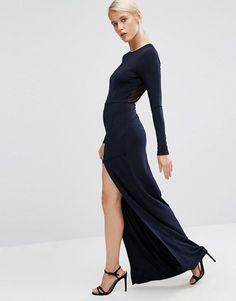ASOS | Vestido largo de crepé de manga larga con aplicación de malla de ASOS