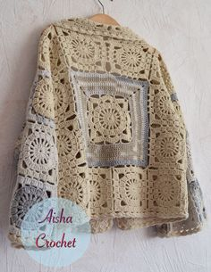 Crochet boho jacket by Aisha Crochet by mitzi Crochet Coat, Crochet Shirt, Crochet Jacket, Crochet Cardigan, Crochet Clothes, Vintage Crochet Patterns, Crochet Stitches Patterns, Mode Crochet, Knitting Stiches
