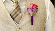 Red Rose on Purple Stem Corsage for #MenWear