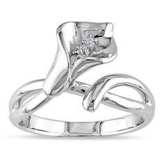 "<li>Round white diamond flower ring</li> <li>Sterling, rosetone or yellowtone silver jewelry</li> <li><a href=""http://www.overstock.com/downloads/pdf/2010_RingSizing.pdf""><span class=""links"">Click here for ring sizing guide</span></a></li>"