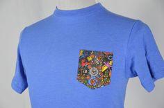 Where's Waldo Mens Small Blue Short Sleeve Front Color Pocket Design T-Shirt Top #WheresWaldo #GraphicTee