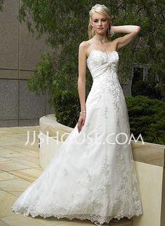 Wedding Dresses - $154.19 - Empire Sweetheart Court Train Satin Tulle Wedding Dresses With Lace Sashes Beadwork (002011947) http://jjshouse.com/Empire-Sweetheart-Court-Train-Satin-Tulle-Wedding-Dresses-With-Lace-Sashes-Beadwork-002011947-g11947