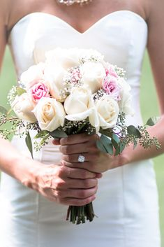 A stunning pink and white rose bridal bouquet.