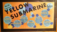 Yellow Submarine Community Building Bulletin Board (Beatles theme) September Bulletin Boards, Ra Bulletin Boards, Ra Programming, Ra Themes, Classroom Inspiration, Classroom Ideas, Ra Bulletins, Ra Boards, A Hard Days Night