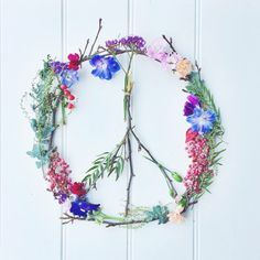 Peace sign made out of flowers